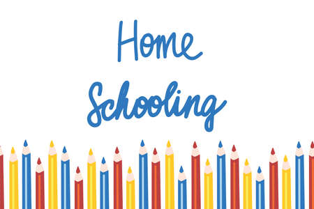 Home schooling. Vector illustration template in flat style. Elementary school, back to school, Handwritten vector illustration Иллюстрация