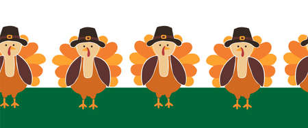 Turkey seamless vector border. Cute Thanksgiving repeating pattern. Use for Thanksgiving greeting cards, party invitations, banner