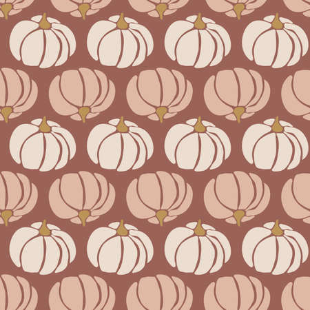 Seamless vector pattern pumpkins white pink brown gold repeating background for Harvest festival or Thanksgiving day. Feminine earthy colors. Иллюстрация