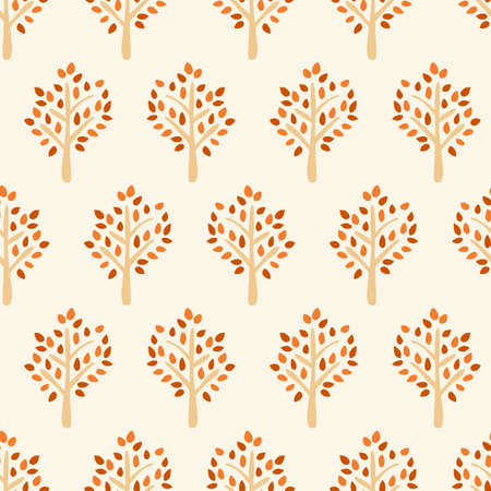 Autumn tree seamless vector pattern. Tree silhouette fall background red orange brown beige. Use for fabric, autumn decor, Thanksgiving