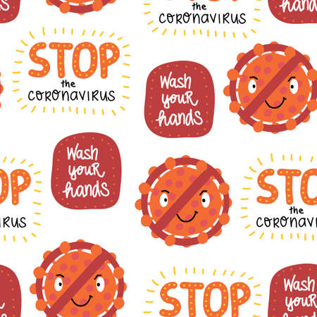 Corona Virus letterings and icons seamless vector pattern. Repeating background with Stop the Coronavirus, wash your hands, virus behind prohibition sign. Cute hand drawn cartoon sticker style