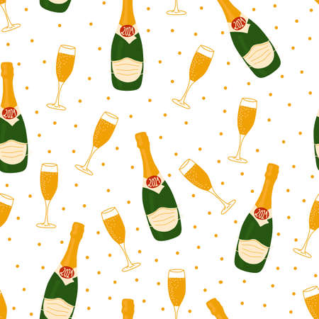 2021 New Year celebration vector pattern with champagne bottles wearing face masks, flutes , confetti, stars. 2021 Coronavirus New Year background Иллюстрация