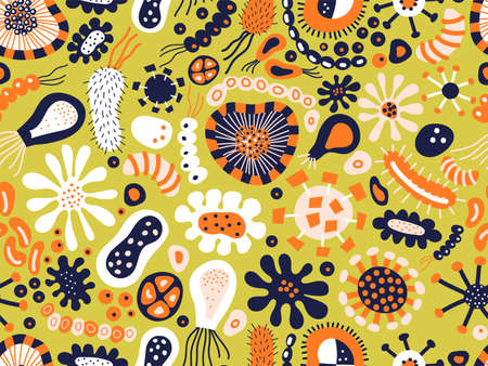 Microscopic Bacteria And Virus Seamless Pattern In blue orange green white. Isolated vector Background. Scandinavian style medical background. Science laboratory repeating pattern