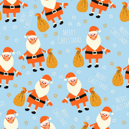Christmas 2020 Coronavirus seamless vector pattern. Santa Claus wearing a protective face mask against coronavirus background. Merry Christmas 2020 during pandemia. Use for Christmas fabric, gift wrap