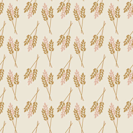 Crop Oat Wheat Barley Rye plant seamless vector background. Stylized autumn nature illustration. Pink brown gold abstract fall pattern flat cartoon style. For fabric, decor, packaging, Thanksgiving Иллюстрация