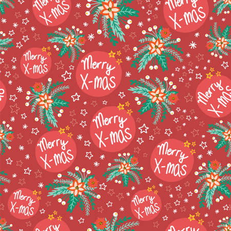 Merry X-mas flower vector pattern seamless red. Repeating Christmas background with poinsettia flowers and stars. Use for gift wrap, holiday greeting cards, gift bags, fabric
