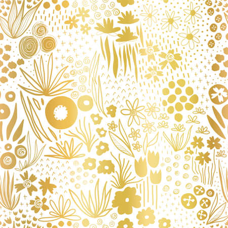 Metallic gold foil flower field on white seamless vector pattern. Repeating golden liberty doodle flower meadow background. Elegant florals for home decor, wedding, summer party, cards, invites Иллюстрация