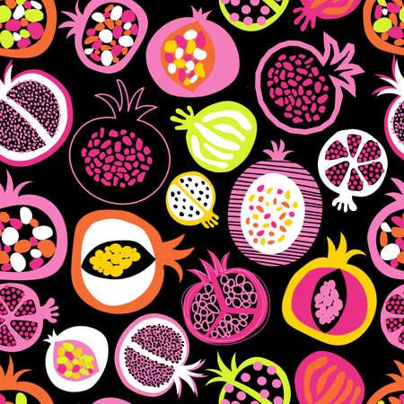 Pomegranate fruit halves in seamless pattern.