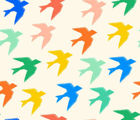 Bird silhouettes seamless background. Repeating pattern colorful seagulls swallows blue green yellow red multidirectional. Animal print for fabric, kids wear, wallpaper, home decor.