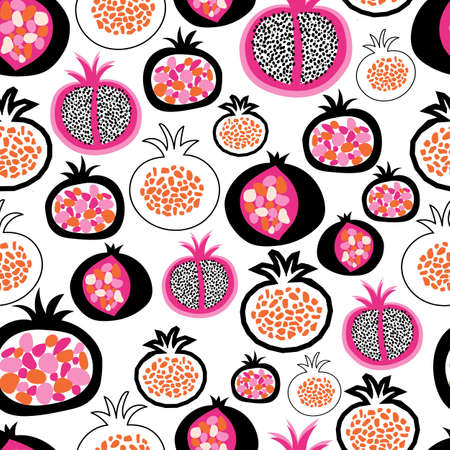 Seamless pattern pomegranate fruit halves. Pink orange black white hand drawn illustration vector background in modern abstract style for fabric, summer decor, children clothes, wallpaper, packaging .
