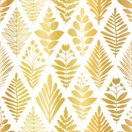 Flower Rhombus Damask abstract metallic gold foil shapes seamless vector pattern. Repeating background plants leaves florals geometric pattern. Decorative elegant golden texture party, celebration Иллюстрация