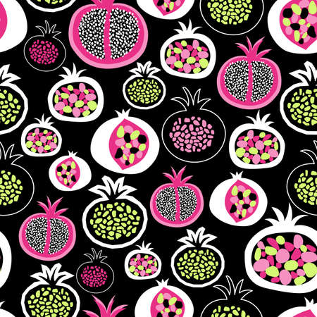 Pomegranate fruit halves seamless pattern. Pink green black white hand drawn illustration vector background in modern abstract style for fabric, summer decor, children clothes, wallpaper, packaging .