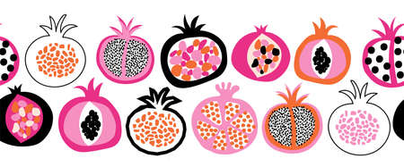 Pomegranate fruit vector border seamless. Repeating pattern doodle pomegranates black white orange pink. Use for fabric trim, kitchen decor, packaging, footer, duct tape, wall decals, banners