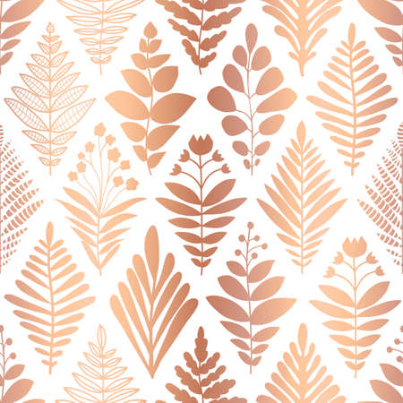 Metallic copper foil floral seamless pattern. Repeating vector background rose gold flowers on white in geometric rhombus shapes. Modern elegant faux metallic design for invitation, wedding, birthday