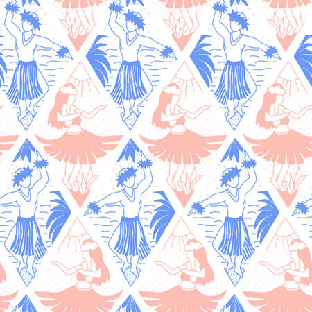 Hula dancer seamless vector pattern. Hula girls and dancing men repeating background. Geometric line art style. Hand drawn Hawaiian pattern in ikat rhombus shapes for fabric, wallpaper, Hawaii decor