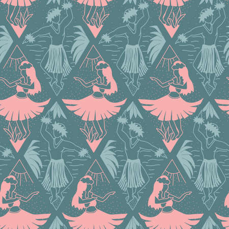 Hawaiian Hula dancers seamless vector pattern pink blue. Hula girls and dancing men repeating background. Hand drawn Hawaiian pattern in ikat rhombus shapes for fabric, wallpaper, Hawaiian home decor