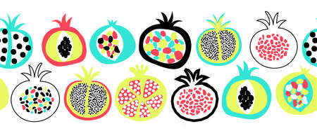 Pomegranate summer fruit seamless vector border. Repeating pattern doodle pomegranates. Use for fabric trim, kitchen decor, packaging, footer, duct tape, wall decals, banners