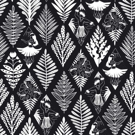 Abstract Hawaiian black and white seamless vector pattern. Hula dancers plants flowers monochrome repeating background. Hula girls and dancing men Hawaii design rhombus shapes for fabric, shirt, wrap. Иллюстрация