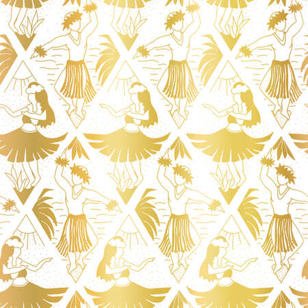 Hawaiian Hula dancers seamless vector pattern faux metallic gold foil on white. Hawaii Hula girls and dancing men repeating elegant golden background. Hand drawn Hawaiian pattern ikat rhombus shapes Ilustrace
