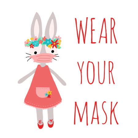 Happy easter. Wear your mask. Stay home. Coronavirus bunny with medical face mask vector illustration. covid-19 bunny. CORONAVIRUS EASTER RABBIT. Cute Easter bunny isolated Иллюстрация