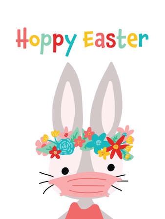 Hoppy Easter bunny vector card template. Stay home and wear a mask rabbit with medical face mask holiday illustration. Иллюстрация