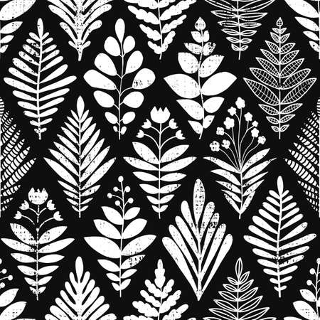 Abstract leaves background. Rhombus shape seamless pattern black and white. Monochrome vector illustration flowers and plants texture for fabric, home decor, wallpaper, wrapping