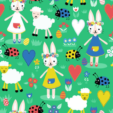 Cute Easter pattern with bunnies, sheep, ladybugs, hearts, eggs and flowers in bright colors. Seamless vector holiday background. Hand drawn cute illustration for fabric, wrapping, Easter decor, card.