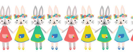 Cute bunnies seamless vector border. Repeating pattern Happy Easter wishes rabbit girls with flower crowns holding hands. Use for holiday cards, banners, ribbons, fabric trim, kids wear. Иллюстрация