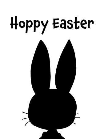 Easter greeting card template. Hoppy Easter minimalist vector holiday design. Black bunny silhouette on white background. Modern funny rabbit holiday greetings.