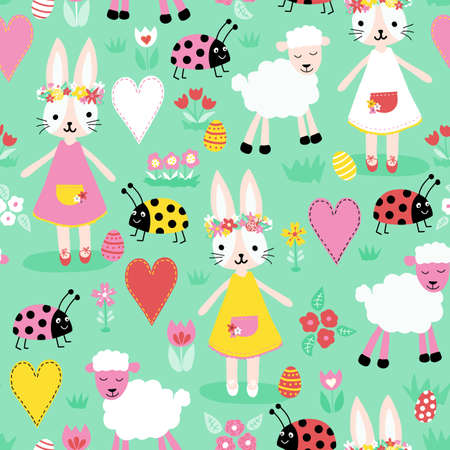 Vector seamless repeating childish pattern with cute bunnies ladybugs sheep eggs heart on a turquoise green pastel background. Design for a nursery, printing cards, on fabric, children clothes Иллюстрация