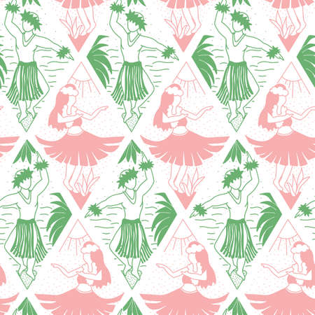 Seamless vector hawaii pattern. Summer background with dancing girls and men in geometric line art rhombus shapes. Bright green pink white ethnic design. Vector illustration. For fabric, Hawaii shirt.