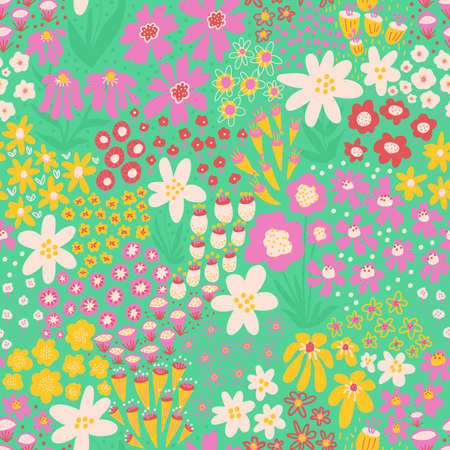 Spring flower meadow seamless vector pattern. Repeating dense floral background in yellow green white pink pastel colors. Field of flowers for fabric, wallpaper, wrapping, Easter decor. Иллюстрация