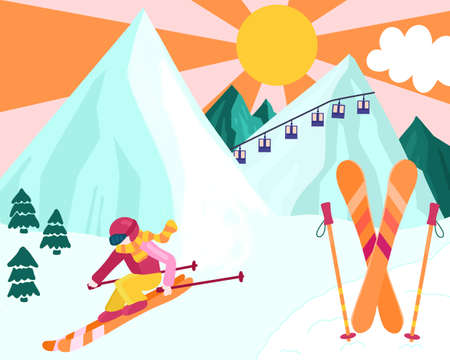 Skiing woman on a snow covered mountain. Downhill ski winter sport hand drawn illustration. Girl with Skier and poles, gondola, sun and nature scene