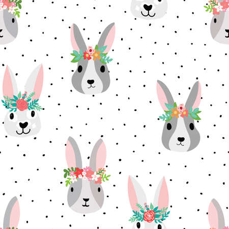 Seamless pattern cute bunnies wearing flower crowns on a white background with black spots. Rabbit faces with floral elements. Vector illustration. Cute Easter animal spring kids design for fabric. Иллюстрация
