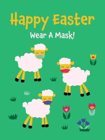 social distancing Easter infographic with cute sheep wearing protective face mask. Happy Easter funny greeting card vector template. Animal holidays cartoon character. Coronavirus design Иллюстрация