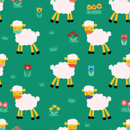 Easter Sheep wearing protective face mask social distancing seamless vector pattern. Иллюстрация