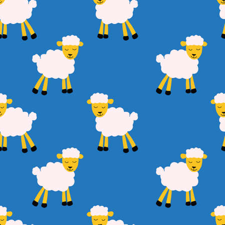 Seamless vector pattern with sheep on blue background. Kid background for fabric, textile, wrapping paper.