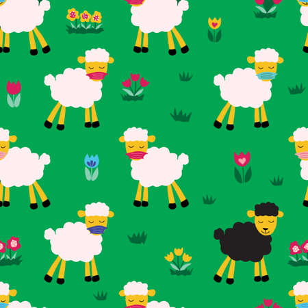 Coronavirus social distancing Sheep wearing protective face mask seamless vector pattern. Repeating Covid Easter holidays background black sheep. Cute animal lamb illustration and flower Easter 2021.