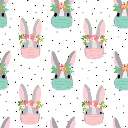 Easter Coronavirus Bunny with face mask seamless pattern. Repeating animal kids vector background Easter holidays. Cute animal rabbit illustration and flowers for fabric, Pandemic Easter card