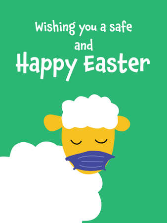 Coronavirus and social distancing Easter greeting card vector template with cute sheep wearing protective face mask against Covid. Happy Easter 2021 funny. Animal holidays cartoon Coronavirus design
