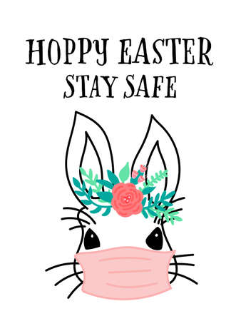 Coronavirus Easter rabbit greeting card template. Happy Easter stay home and safe. Bunny with medical protective face mask. Covid-19 rabbit. Cute hand drawn illustration Isolated on white background Иллюстрация