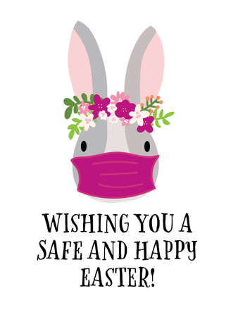 Covid Easter rabbit greeting card template vector. Happy Easter 2021 stay home and safe. Coronavirus Bunny with medical protective face mask. Cute hand drawn illustration Isolated on white background.