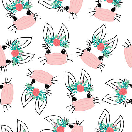 Covid Easter rabbit with face mask seamless vector pattern. Repeating Coronavirus pandemic Easter bunny flower background Easter holidays. Cute holiday animal illustration for fabric, Easter face mask