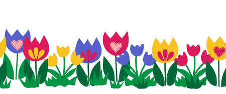 Seamless flower border isolated on white background. Hand drawn floral vector illustration child like tulips colorful repeating pattern for spring, Easter, card decor, fabric trim, footer, ribbons Иллюстрация