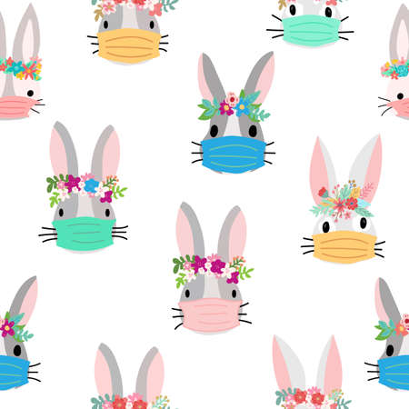 Easter rabbit Coronavirus seamless vector pattern. Repeating Covid pandemic Easter bunny with face mask flower background Easter holidays. Cute animal illustration for holiday fabric, Easter face mask Иллюстрация