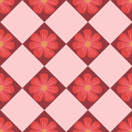Abstract geometric flower seamless vector pattern. Repeating vintage background pink red florals in square grid retro style. Use for fabric, wallpaper, home decor. Иллюстрация