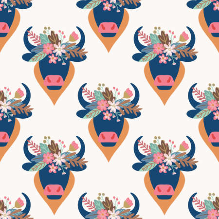 Boho bull head seamless vector pattern. Abstract ox with horns and ethnic flower arrangement on white repeating background. Aztec animal bohemian style. Illustration for fabric, wallpaper, cowgirl.