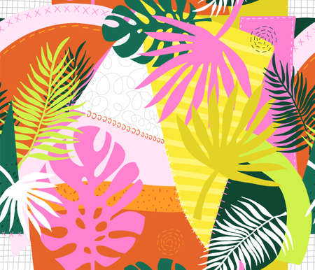 Collage contemporary floral palm leaves and abstract patchwork shapes seamless vector pattern. Repeating modern vibrant summer background. Modern exotic design for paper, cover, fabric, home decor Иллюстрация
