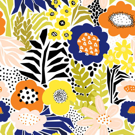 Seamless abstract flowers and leaves vector pattern. Modern floral leaf repeating background. Summer collage paper cut style hand drawn illustration for summer decor, fabric, wallpaper, packaging.