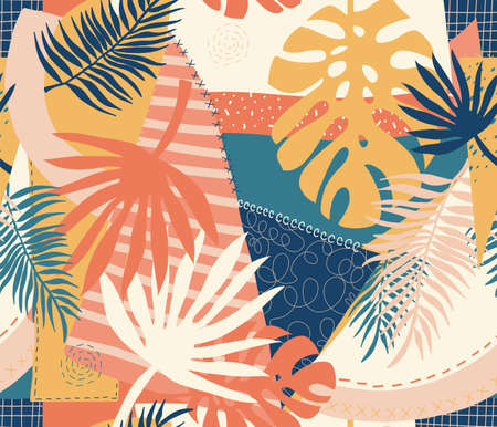 Modern exotic jungle plants illustration pattern. Creative collage contemporary floral seamless pattern. Fashionable template for design. Иллюстрация